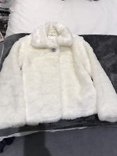 Girls faux Fur Cream Jacket - marks and spencer.