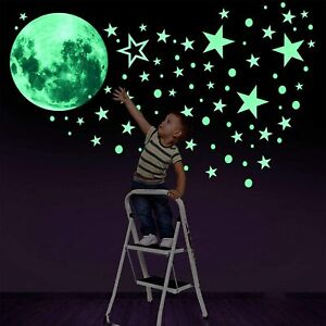 436 Luminous Moon And Stars Glow In The Dark Wall Stickers Kids Bedroom Decals