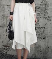 Japanese Designer Style Asymmetric Drape Black or White Cotton Crepe Skirt