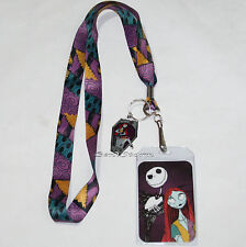 Disney The Nightmare Before Christmas Jack Sally Patchwork Lanyard ID Pin Holder