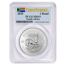 Sale Price - 2018 South Africa 1 oz Silver Krugerrand PCGS MS 69 First Strike