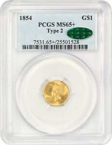 1854 G$1 PCGS/CAC MS65+ (Type 2) Scarce Type 2 Variety - 1 Gold Coin