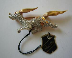 VIntage Panetta Rhinestone Running Dog Pin Brooch w/ Tag