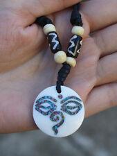 Tibetan Cloisonne Buddha Eye Spiral Weaving Yak Bone Beaded Pendant Necklace