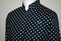 Fred Perry Navy Blue / White Polka Dot Long Sleeve Shirt S MINT Mod Ska Top