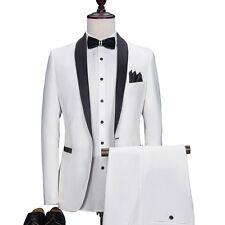 New White Men Groom Tuxedos Wedding Best Men Suit Groomsmen Suit Custom Made