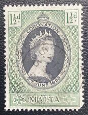MALTA- Coronation OF Queen Elizabeth II. 1953 QEII Used