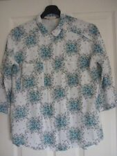 WHITE STUFF WHITE TEXTURED TURQUOISE MULTI FLORAL SHIRT UK 12, EUR 40, US 8. FAB
