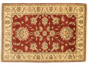 Afghan Chobi Ziegler Carpet Hand Knotted 110x150 Red Floral Pattern Wool