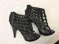 Lattice Sandal Shoes Heels Black UK 3