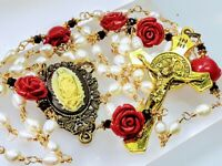 Beautiful White Freshwater Rice Pearl Red Rose St Benedict Guadeloupe Rosary