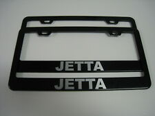 "2 Brand New ""JETTA"" BLACK Metal License Plate Frame Front&Rear"
