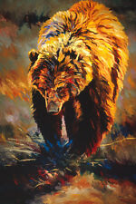 Wandering by Terry Lee Brown Grizzly Bear Wildlife Canvas Giclee L/E Print 40x30