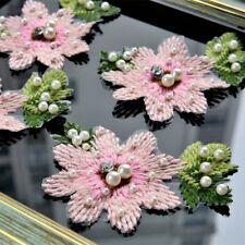 10pc 3D Floral Lace Applique Beaded Pearl Flower Patches Costume Dress Decor DIY