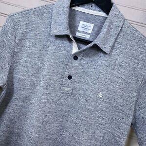 Rag & Bone S/S Polo Shirt Cotton Blend Gray Heather Mesh Men's Size XS