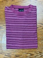 Vintage 90s Bugle Boy Co Striped Maroon T Shirt Sz M? All Over Print Summer