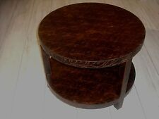 Table basse ronde en cuir imprimé style marocain