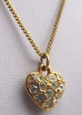 pendentif Monet plaqué or chaîne rétro coeur cristaux diamant brillance 2562