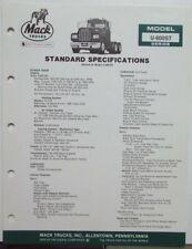 1982 Mack Trucks Model U 600ST Diagram Dimensions Sales Brochure Original
