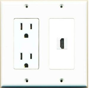 1 Port HDMI 2.0 Wall Plate w/Power Outlet White