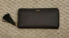 Women's Fossil Pebbled Leather Wallet NEW Black Gold