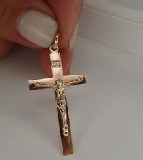 Vintage Rose Gold 14K Cross Medallion Pendant Fine Jewelry