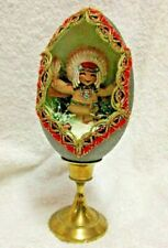 Decorated Real Emu Egg Carved Collectible Indian Brave. Solid Brass Stand.