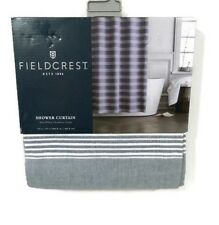 Fieldcrest Shower Curtain Navy Blue White Stripe Chambray 72 x 72  Fabric New
