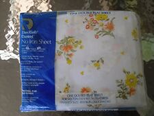 NEW VINTAGE SHEET DOUBLE FLAT DAN RIVER NO IRON FORTREL  FLORAL yellow white
