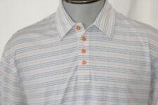 Hollas Mens Short Sleeve Golf Polo Shirt Size Large White w/Stripes