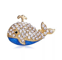 Whale Blue with Clear Crystals Vintage Gold Pin Brooch D-5670