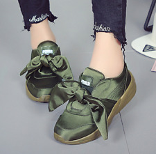 2017New Womens Pink/Army Green Satin Bow Walking Athletic Fashion Sneakers Shoes