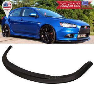 STI Black Poly Bumper Lip Spoiler BodyKit Splitter For 09-15 Mitsubishi Lancer