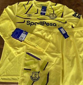 BNWT Everton Goalkeeper Shirt + Shorts + Socks Mens XXL 2XL Umbro Home Goalie