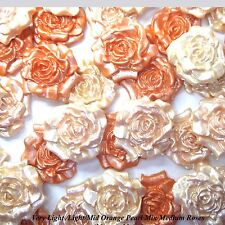 12 Light/Mid Orange Pearl Mix Sugar Roses edible wedding cake decorations 30mm