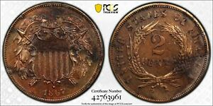 1867 PROOF Two Cent 2c Piece Coin - PCGS Corrosion removed UNC Detail