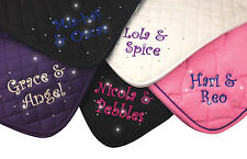Crystal Crazy Personalised Embroidered Saddle Cloth With Curly Font in 4 Colours COB Red