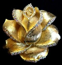 Rose Brooch With Ab Rhinestones! Limited Edition Modern Trifari 1997 Textured