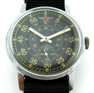 USSR  Pobeda wristwatch ZIM for Pilot, Aviator. Military design. Gold and black.