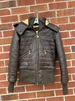 Black Baby Phat Genuine Leather Quilted Brown Hooded Jacket Size Small Coat