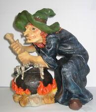 Hexe mit Hexenkessel 21cm Halloween Deko Figur aus Polyresin, 21x20x18cm