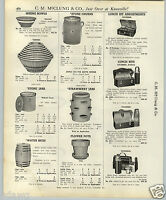 1937 PAPER AD 3 Gallon Pottery Stone Butter Churn Striped Mixing Bowls Set China