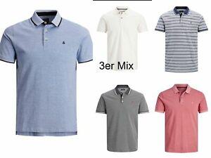 Jack&Jones 3er Pack Herren (3x Polos) Mix Set Sommer Poloshirts