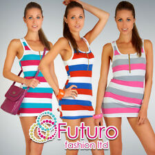 Womens Summer Striped Mini Dreess with Zipper Neon Colours One Size Tunic 5078