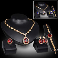 Gold Plated Crystal Ruby Pendant Necklace Earrings Bracelet Ring Jewelry Set New