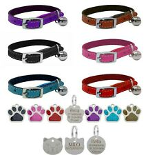 Cat Collar Real Leather, Safety Elastic, Bell, Range of Colours, Optional Tag
