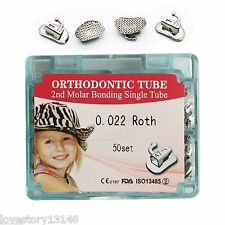 50 Kit Dental Orthodontic Non-Convertible Bonding Buccal Tube Roth 022 2nd Molar