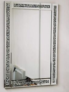 New Crushed Jewel Wall Mirror Loose Diamante Crystal Square Home Decor 60X40CM