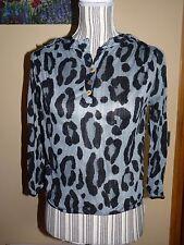 Blouse T-shirt  OFFICIER boule gris noir léopard TU 36 38 chemisier