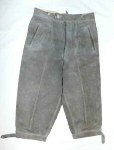 GRAY LEATHER Lederhosen Pants Boy or Women German Bavarian Oktoberfest Waist 27""